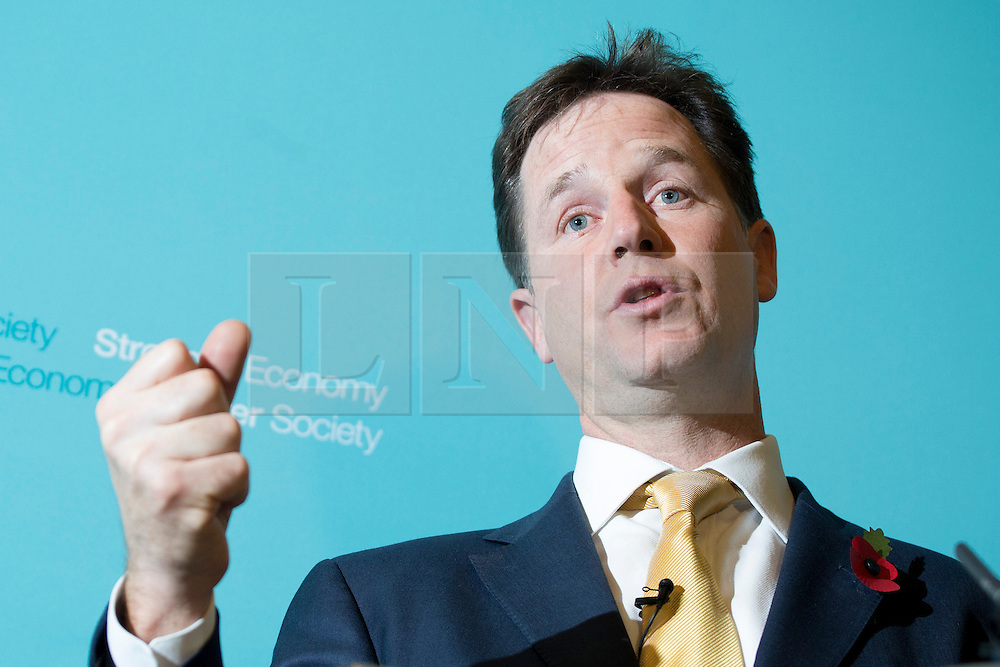 © licensed to London News Pictures. London, UK 30/10/2013. Deputy Prime Minister Nick Clegg holding a Q&A session with journalists at Dover House, London on Wednesday, 30 October 2013. Photo credit: Tolga Akmen/LNP