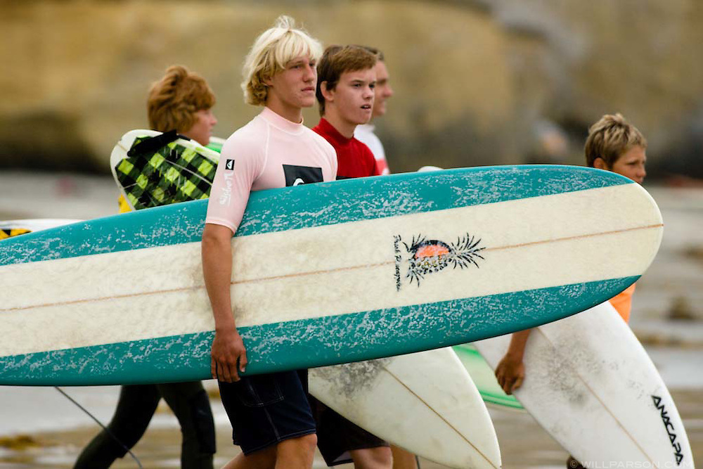Surfers in the boys' age 14-17 category wait to compete in first annual Grom-o-rama youth surf tournament in Solana Beach, California on August 23, 2008.