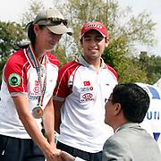 Natalia NASARIDZE (TUR) (L), Yagız YILMAZ (TUR) (R) competes in Archery World Cup Final in Istanbul, Turkey, Sunday, September 25, 2011. Photo by TURKPIX