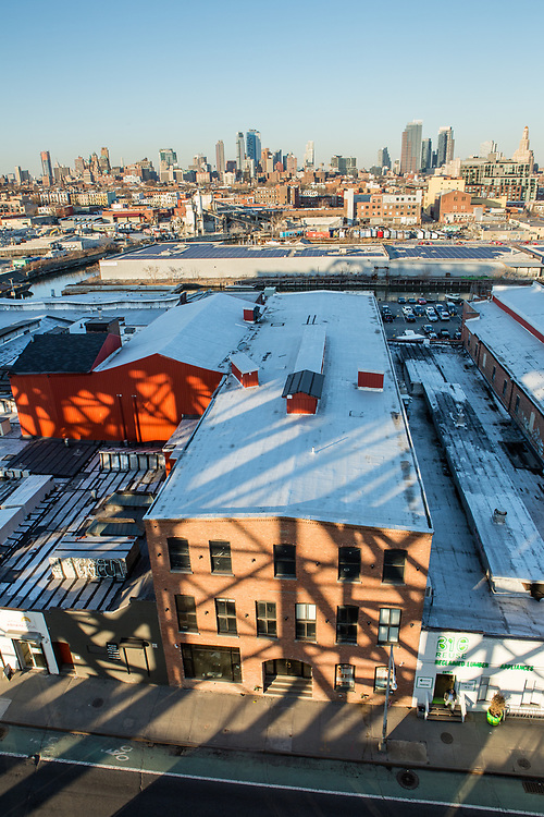 A view of Gowanus and downtown Brooklyn from the Smith-9th Street subway platform.