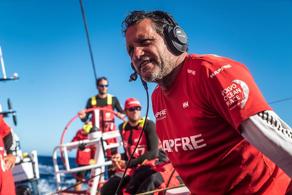 Leg 02, Lisbon to Cape Town, day 13, on board MAPFRE, Joan vila during a Live X with his friend Jordi Domenech. Photo by Ugo Fonolla/Volvo Ocean Race. 17 November, 2017