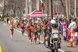 2014 Boston Marathon: lead pack of elite women race near mile 17, Shalane Flanagan