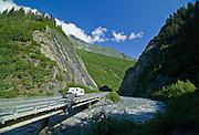 Motorhome travels the scenic Richardson Highway near Valdez in summer, Alaska.