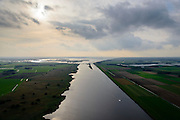 Nederland, Overijssel, Fleovoland, 10-10-2014; <br /> Zwarte Meer met Ramsgeul, balgstuw bij Ramspol en Ketelmeer aan de horizon.<br /> Waterway next to one of the new polders.<br /> luchtfoto (toeslag op standard tarieven);<br /> aerial photo (additional fee required);<br /> copyright foto/photo Siebe Swart