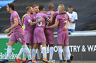 GOAL Calvin Andrew celebrates scoring for Rochdale 0-1  during the EFL Sky Bet League 1 match between Coventry City and Rochdale at the Ricoh Arena, Coventry, England on 1 September 2018.
