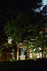 August 16, 2017 - Annapolis, MD, U.S. - Statue of former U.S. Supreme Court Chief Justice Roger Brooke Taney in front of the Maryland state capitol in Annapolis, Maryland, at night on August 16, 2017.  The statue has stood in front of the capitol building since 1872, but earlier in the evening the Maryland State House Trust voted in favor of removing the statue of Taney, a Marylander who was the author of the infamous Dred Scott decision that upheld slavery. State and municpal officials around the country have been rethinking the display of statues, flags and other memorials associated with slavery and the Confederacy since a rally by Neo-Nazis, the Ku Klux Klan and other white supremacists in Charlottesville, Va., that turned deadly four days earlier. (Credit Image: © Jay Mallin via ZUMA Wire)