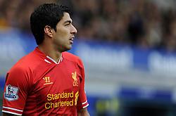 Liverpool's Luis Suarez - Photo mandatory by-line: Dougie Allward/JMP - Tel: Mobile: 07966 386802 23/11/2013 - SPORT - Football - Liverpool - Merseyside derby - Goodison Park - Everton v Liverpool - Barclays Premier League