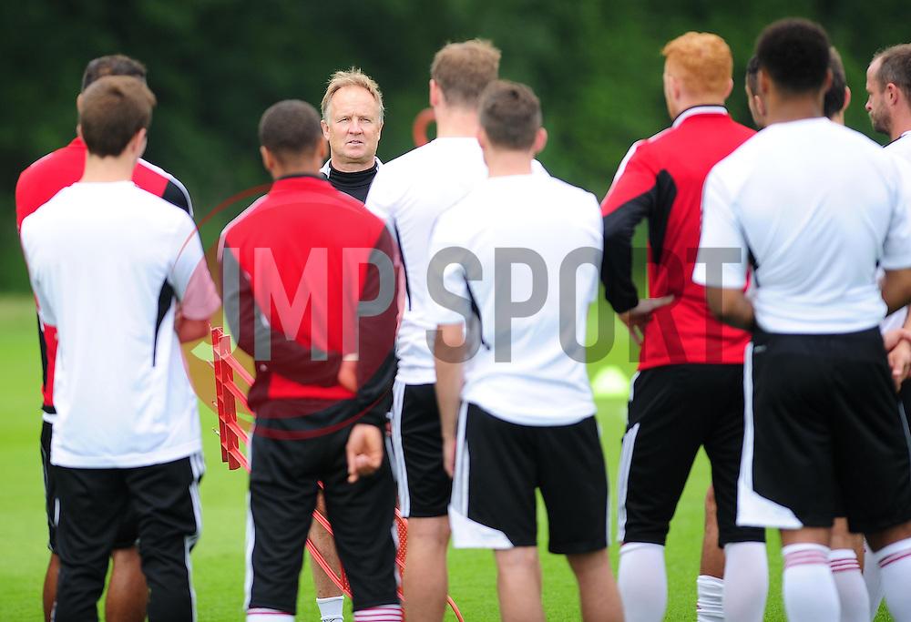 Bristol City's head coach, Sean O'Driscoll addresses the squad - Photo mandatory by-line: Dougie Allward/JMP - Tel: Mobile: 07966 386802 28/06/2013 - SPORT - FOOTBALL - Bristol -  Bristol City - Pre Season Training - Npower League One