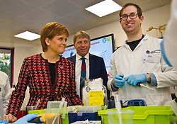Pictured: Nicola Sturgeon and Professor Peter Mathieson, Principal of the University of Edinburgh<br /> The First Minister, Nicola Sturgeon visited the Roslin Institute's Easter Bush campus today to officially open the Innovation Centre and meet tenants who have already moved in. Ms Sturgeon met students from Mussbleburgh Grammer School who participate in the outreach programme run at the Institute.<br /> <br /> Ger Harley | EEm 5 November 2018