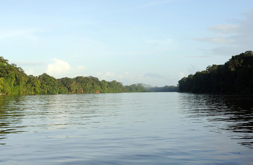 The Tortuguero River and Tortuguero Mountain. Tortuguero National Park, Limon Province, Costa Rica. 17Nov13.