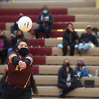 Rehoboth Christian's Ashley Skeets (17) bumps the ball during their match against the Ramah Mustangs Tuesday in Rehoboth. Rehoboth won the match 3-0.