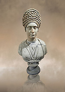 Roman marble sculpture bust of an unkown women, Late Trajan period 98-117 AD , inv 6074 Farnese Collection, Naples  Museum of Archaeology, Italy ..<br /> <br /> If you prefer to buy from our ALAMY STOCK LIBRARY page at https://www.alamy.com/portfolio/paul-williams-funkystock/greco-roman-sculptures.html . Type -    Naples    - into LOWER SEARCH WITHIN GALLERY box - Refine search by adding a subject, place, background colour, museum etc.<br /> <br /> Visit our ROMAN WORLD PHOTO COLLECTIONS for more photos to download or buy as wall art prints https://funkystock.photoshelter.com/gallery-collection/The-Romans-Art-Artefacts-Antiquities-Historic-Sites-Pictures-Images/C0000r2uLJJo9_s0