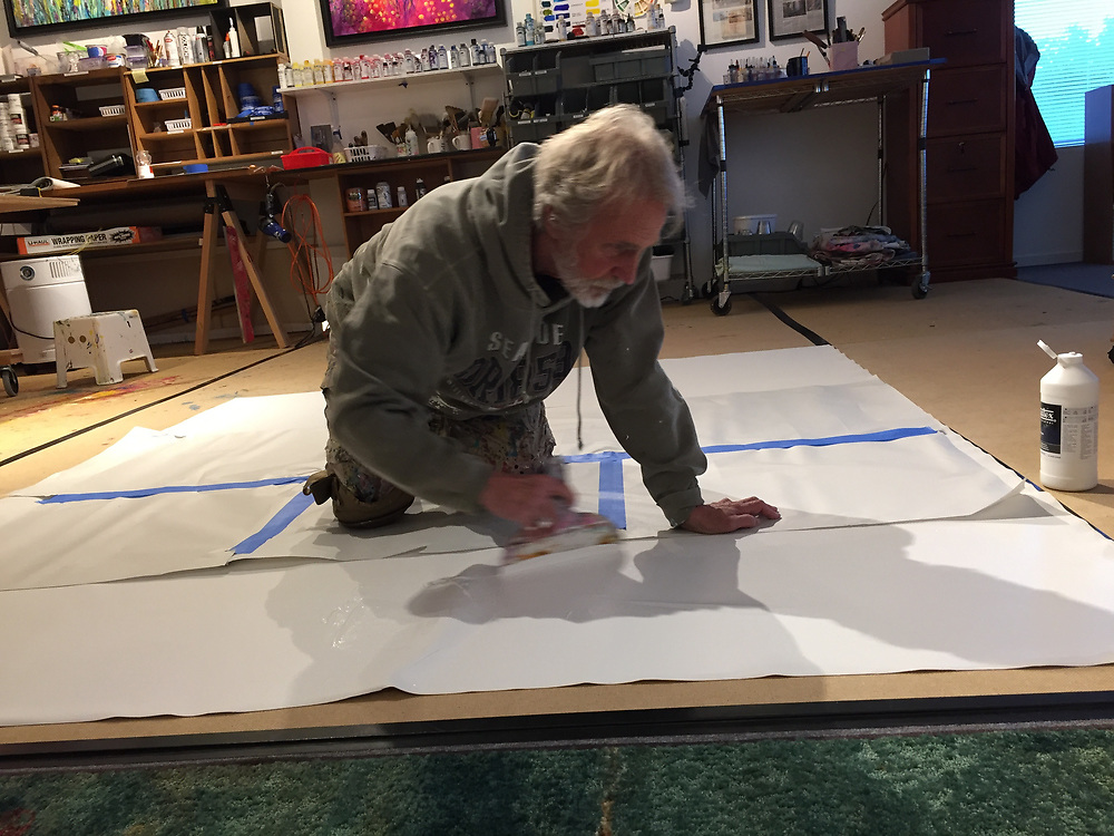 As much as I love painting on all fours, 2 heart attacks are forcing me to work on a large rolling table. It sucks to have limitations, especially when it results in having to work smaller. I think I will sneak my way down from time to time. Don't tell anyone.