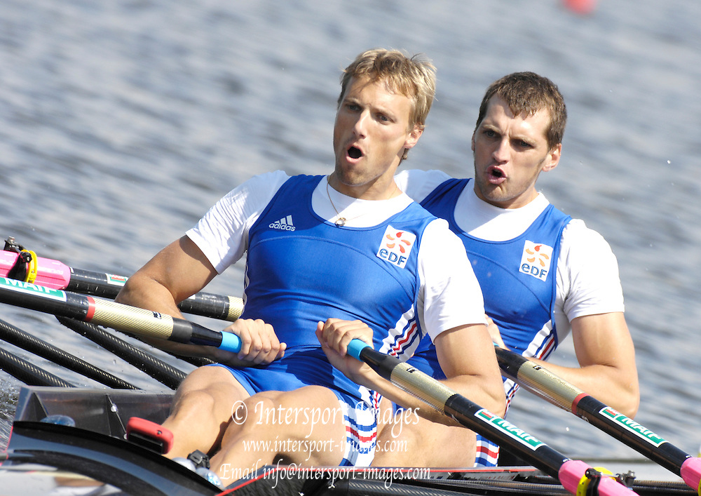 Poznan, POLAND, FRA M2X, Bow Jean-Baptiste MACQUET and Adrien HARDY, at the  start of their Repechage at the 2008 FISA World Cup. Rowing Regatta. Malta Rowing Course on Saturday, 21/06/2008. [Mandatory Credit:  Peter SPURRIER / Intersport Images] Rowing Course:Malta Rowing Course, Poznan, POLAND