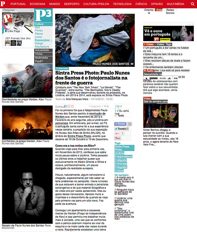 """Screengrab of """"Interview: War photographer"""" published in Publico"""
