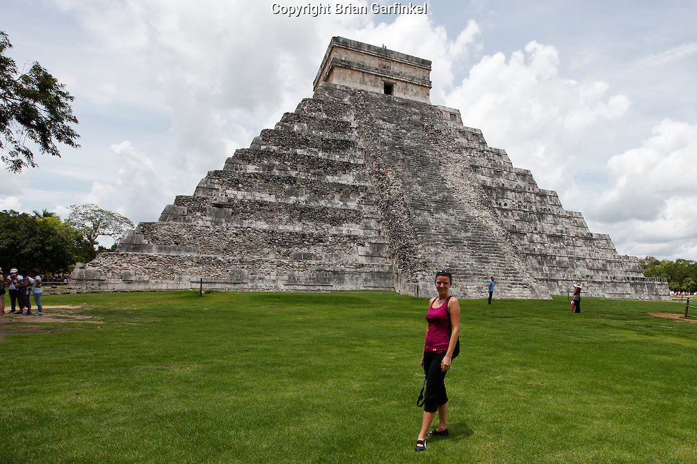 Allison in front of the main pyramid at Chichen Itza Mayan ruins near Piste, Mexico