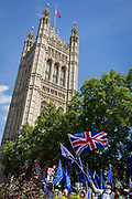 A day after British Prime Minister Boris Johnson successfully asked the Queen to suspend prorogue Parliament in order to manoeuvre his Brexit deal with the EU in Brussels, Remain protesters stand with flags and banners while lunchtime TV interviews are filmed by broadcasters on College Green, on 29th August 2019, in Westminster, London, England.