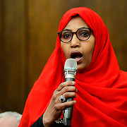 Speaker Rakhia Ismail, Islington Mayor at the  Stand Up To Racism  hosts Challenging the hostile environment and racism will democracy breaking its own law with Jeremy Corbyn labelling Brexit European  stealing job, Migrant rapist, Muslim terrorists, Muslim Grooming, African/Black is a criminal or rapist, Chinese the #coronavirus and let the refugees drown at Islington Town Hall on 6 March 2020, London, UK.