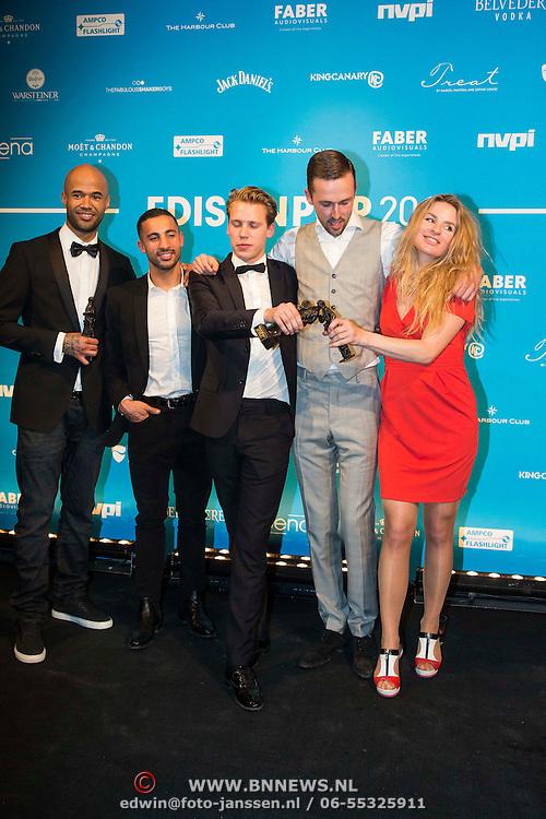 NLD/Amsterdam//20140331 - Uitreiking Edison Pop 2014, Mr. Probz en the Opposites en Sandra Nieuwland