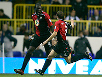 Photo: Tom Dulat.<br /> <br /> Tottenham Hotspur v Blackburn Rovers. The FA Barclays Premiership. 28/10/2007.<br /> <br /> Blackburn Rovers's Christopher Samba(L) celebrating his goal together with Stephen Warnock(R). Blackburn Rovers leads 2-1
