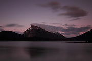 Views of the mountains across the Vermillion Lakes, just outside Banff Townsite, in Banff National Park, Alberta. This is Mount Rundle, with long exposure