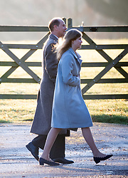 The Earl of Wessex and daughter Lady Louise Windsor arriving to attend a church service at St Mary Magdalene Church in Sandringham, Norfolk.