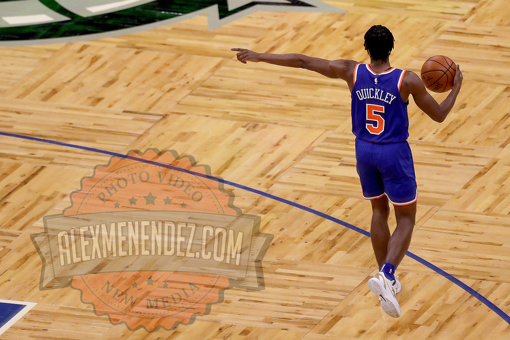 ORLANDO, FL - FEBRUARY 17:   Immanuel Quickley #5 of the New York Knicks points out instructions against the Orlando Magic at Amway Center on February 17, 2021 in Orlando, Florida. NOTE TO USER: User expressly acknowledges and agrees that, by downloading and or using this photograph, User is consenting to the terms and conditions of the Getty Images License Agreement. (Photo by Alex Menendez/Getty Images)*** Local Caption *** Immanuel Quickley