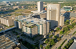 Archival aerial view of the Texas Medical Center in Houston with Reliant Stadium in the distance.