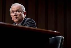 June 13, 2017 - Washington, District of Columbia, U.S. - U.S. Attorney General JEFF SESSIONS testifies before the Senate Committee on Intelligence about Russian interference in the 2016 presidential election at the Hart Senate Office Building on Capitol Hill. Many questions from Senators were regarding Sessions recusing himself from the Russia investigation.. (Credit Image: © Ken Cedeno via ZUMA Wire)
