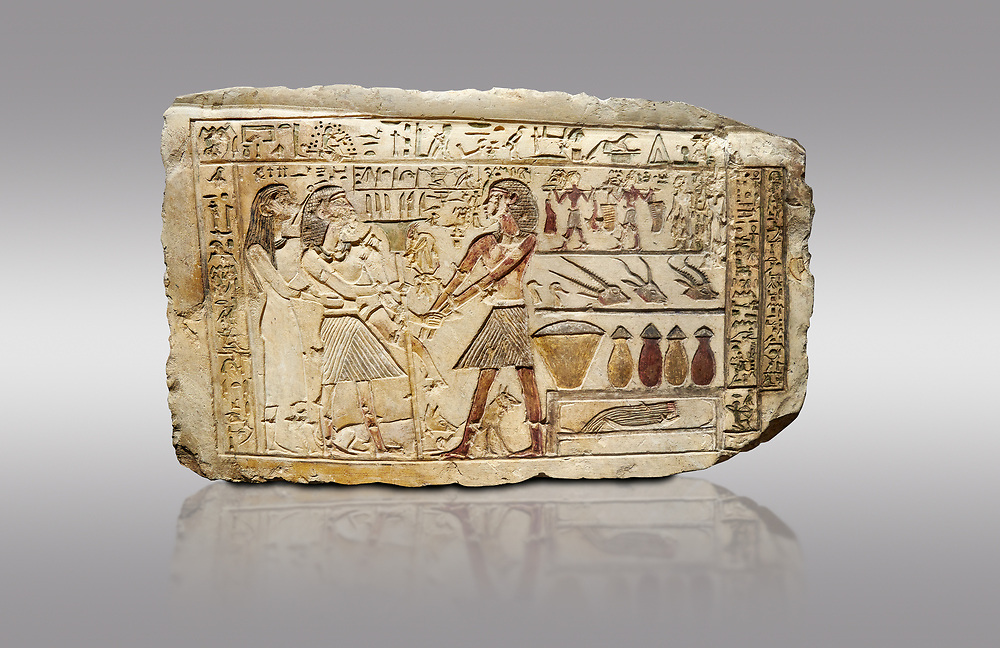 Ancient Egyptian stele showing Iti & Neferu receiving food offerings, First Intermediate Period, (2118-1980 BC), Gebelein, Tomb of Iti & Neferu,  Egyptian Museum, Turin. Grey background. Schiaparelli cat 13114. .<br /> <br /> If you prefer to buy from our ALAMY PHOTO LIBRARY  Collection visit : https://www.alamy.com/portfolio/paul-williams-funkystock/ancient-egyptian-art-artefacts.html  . Type -   Turin   - into the LOWER SEARCH WITHIN GALLERY box. Refine search by adding background colour, subject etc<br /> <br /> Visit our ANCIENT WORLD PHOTO COLLECTIONS for more photos to download or buy as wall art prints https://funkystock.photoshelter.com/gallery-collection/Ancient-World-Art-Antiquities-Historic-Sites-Pictures-Images-of/C00006u26yqSkDOM
