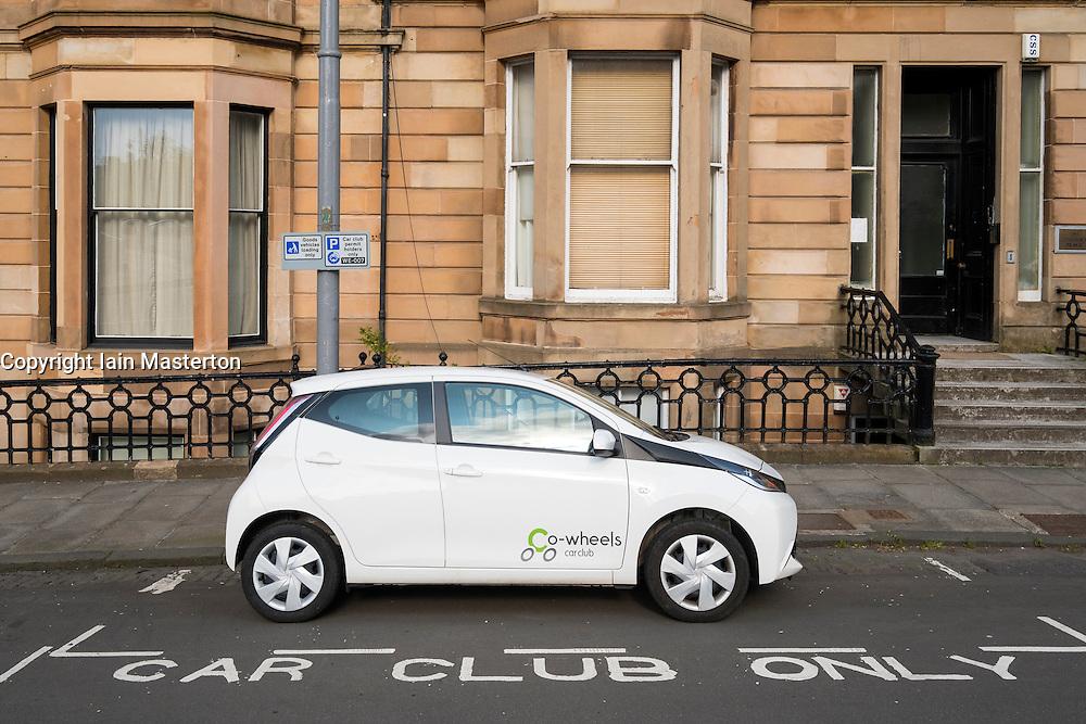reserved Car Club Parking space in Glasgow United Kingdom