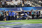 Penn State Nittany Lions wide receiver K.J. Hamler (1) tries to score a touchdown as Memphis Tigers safety La'Andre Thomas (12) attempts to make the tackle during the game of the NCAA Cotton Bowl Classic football game, Saturday, Dec. 28, 2019, in Arlington, Texas. Penn State defeated Memphis 53-39. (Mario Terrana/Image of Sport)
