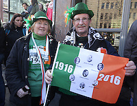 Harry and Francis Kenny, from Kilworth in Cork at the centenary Easter Rising Parade at Cuffe Street in Dublin. Picture credit; Damien Eagers 27/3/2016