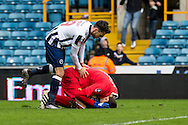 Goalkeeper Costel Pantilimon of Watford goes down injured during the FA Cup match at The Den, London<br /> Picture by Liam McAvoy/Focus Images Ltd 07413 543156<br /> 29/01/2017
