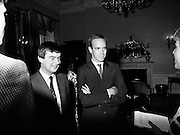 Prince Albert of Monaco is greeted by reporters at Iveagh House, Dublin, along with George Bermingham TD, Minister of State at the Department of Foreign Affairs, as part of his visit to Ireland.<br />
