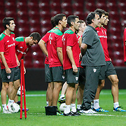 Athletic Bilbao's head coach Marcelo Biesla and  players during their team's training session in Istanbul, Turkey, 24 August 2011. Athletic Bilbao will face Trabzonspor in the UEFA Europa League play off second leg soccer match on 25 August.  Photo by TURKPIX