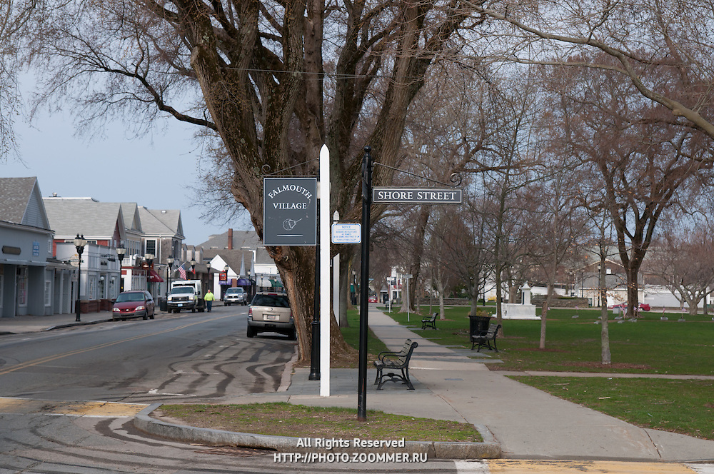 Falmouth village sign and empty park in low season, April 2011, Cape Cod