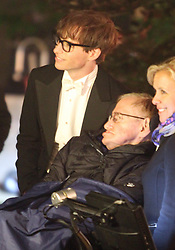 EXCLUSIVE FILE PHOTO It has this morning (14/3/18)been announced that Stephen Hawking has passed away. Hawking is seen here alongside Eddie Redmayne on the set of the film about his life. Redmayne portrayd Hawking in the movie.<br />