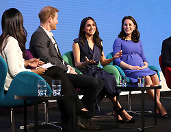(second from left) Prince Harry, Meghan Markle and the Duchess of Cambridge during the first Royal Foundation Forum in central London.