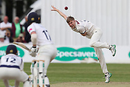 James Logan of Yorkshire bowling during the Specsavers County Champ Div 1 match between Yorkshire County Cricket Club and Warwickshire County Cricket Club at York Cricket Club, York, United Kingdom on 18 June 2019.