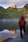 A hiker at Bear Lake, Rocky Mountain National Park, Colorado. (model released)
