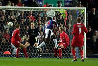 Photo. Jed Wee.<br /> Blackburn Rovers v Liverpool, Carling Cup, Ewood Park, Blackburn. 29/10/03.<br /> Blackburn's Dwight Yorke puts his team ahead.