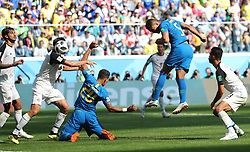 SAINT PETERSBURG, June 22, 2018  Casemiro (2nd R) of Brazil heads the ball during the 2018 FIFA World Cup Group E match between Brazil and Costa Rica in Saint Petersburg, Russia, June 22, 2018. (Credit Image: © Cao Can/Xinhua via ZUMA Wire)