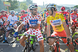 September 12, 2017 - Yunzhu, China - (Left-Right) Daniel Dominguez (Keyi Look Cycling Team) in King of the Mountains Jersey and Luka Pacioni (Androni-Sidermec-Bottecchia Team) in the Leader Yellow Jersey ahead of the start to the second stage Jinzhong A to B race of the 2017 Tour of China 1, the 197km from Dazhai to Yunzhu. .On Tuesday, 12 September 2017, in Dashai, Jinzhong, Shanxi Province, China. (Credit Image: © Artur Widak/NurPhoto via ZUMA Press)