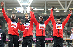 Trinidad and Tobago (gold) on the podium for the Men's 4x400m Relay Final during day ten of the 2017 IAAF World Championships at the London Stadium. PRESS ASSOCIATION Photo. Picture date: Sunday August 13, 2017. See PA story ATHLETICS World. Photo credit should read: Jonathan Brady/PA Wire. RESTRICTIONS: Editorial use only. No transmission of sound or moving images and no video simulation.