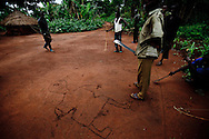 Arrow boys patrol through homesteads near Yambio where the LRA has been active.