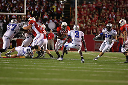 20 September 2008: Geno Blow stutters trying to throw off the coverage by Ke'Andre Sams during Illinois State Redbirds home opener lose to the #20 ranked Eastern Illinois Panthers at Hancock Stadium on the campus of Illinois State University in Normal Illinois. Final score was 25-21.