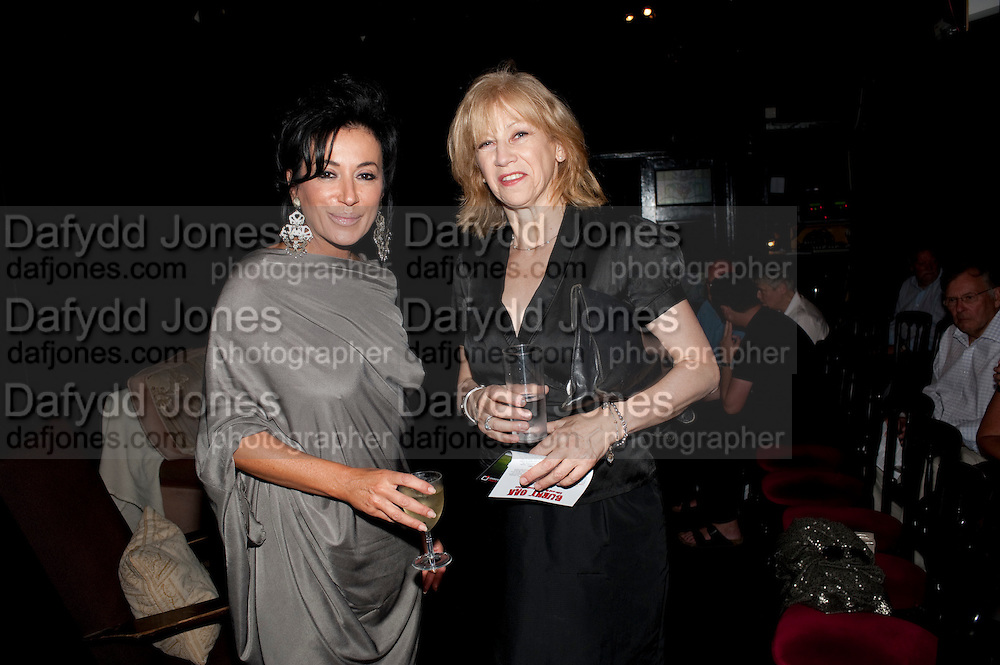 NANCY DELL D'OLIO; CATHERINE MANSEL LEWIS, Burnt Oak premiere of Laurence Lynch play detailing his life as a Soho plumber and close friend to artist Sebastian Horsley. Directed by Nathan Osgood and produced by Tartan Films founder Hamish McAlpine. Leicester Square Theatre, 6 Leicester Place, London, 2 August 2011.<br /> <br />  , -DO NOT ARCHIVE-© Copyright Photograph by Dafydd Jones. 248 Clapham Rd. London SW9 0PZ. Tel 0207 820 0771. www.dafjones.com.
