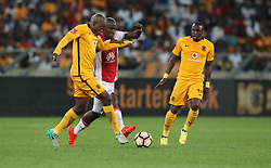 Willard Katsande of Kaizer Chiefs with a tackle on Mark Mayambela of Ajax Cape Town during the 2016 Premier Soccer League match between Kaizer Chiefs and Ajax Cape Town held at the Moses Mabhida Stadium in Durban, South Africa on the 24th September 2016<br /> <br /> Photo by:   Steve Haag / Real Time Images