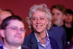 """© Licensed to London News Pictures. 12/05/2017. London, UK. Remain supporter BOB GELDOF listens Gina Miller speaking on the impact of Brexit at """"The Convention on Brexit"""" event at Westminster Central Hall in London on Friday, 12 May 2017. Photo credit: Tolga Akmen/LNP"""